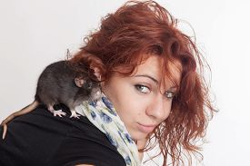 picture of rats  - portrait of a girl with a pet rat - JPG