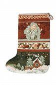 stock photo of gobelin  - gobelin cristmas sock isolated on white background - JPG