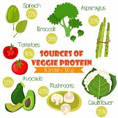 Постер, плакат: Superfoods Set 2 Sources Of Veggie Protein % Protein 100G Tomatoes Cauliflower Broccoli Spin