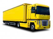 picture of big-rig  - A Big Yellow Semi Truck Isolated on White - JPG