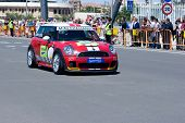 VALENCIA, SPAIN - MAY 16: To promote the Mini Challenge 2010 event, a Mini Cooper gives a demo in th