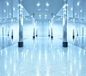 image of shopping center  - symmetric modern hall inside office center - JPG