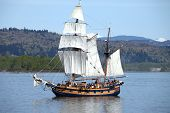 stock photo of galleon  - Galleon sailing the Columbia river near Longview WA - JPG