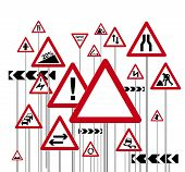 image of road sign  - an illustration of a red triangle warning road signs - JPG