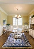 image of wainscoting  - tasteful diningroom with windows and wainscot - JPG