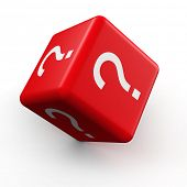 stock photo of guess  - Question mark symbol dice rolling 3d illustration - JPG