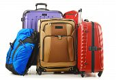 Suitcases And Rucksack Isolated On White poster