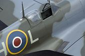 stock photo of spitfire  - The cockpit of Spitfire fighter plane - JPG