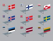 The flags of Denmark, Finland, Greenland, Iceland, Norway, Sweden, Estonia, Latvia, and Lithuania. D
