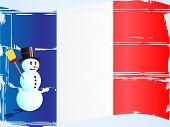 Постер, плакат: Снеговик на французский флаг