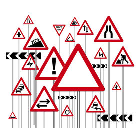 picture of road sign  - an illustration of a red triangle warning road signs - JPG