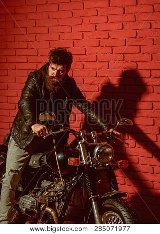 poster of Traveling. Man Traveling By Motorcycle. Traveling And Wanderlust. Biker Likes Traveling And Adventur