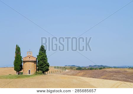 Isolated Church In Tuscany Hills