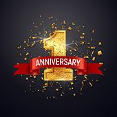 1 Anniversary Celebrating Golden Number With Red Ribbon Vector And Confetti Isolated Design Elements poster