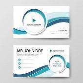 Blue Circle Corporate Business Card, Name Card Template ,horizontal Simple Clean Layout Design Templ poster