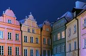 Colorful Tenements In The Old City Of Warsaw At Night poster