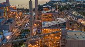 Steel Plant, Metallurgical Plant, Metallurgical Steelmaking Factory, Aerial View. poster