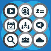 Media Icons Set With Promote, Network, Media And Other Play Elements. Isolated  Illustration Media I poster