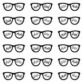Set Of Eyeglasses With Inscriptions: Nerd, Cool, Mind, Geek. Seamless Pattern With Glasses And Inscr poster