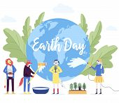 Little Character Prepare For The Day Of The Earth Concept. Save The Planet, Save Energy, The Hour Of poster