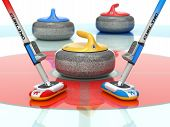 Curling Scene With Two Curling Brooms And Stones - 3d Illustration poster