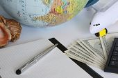 Planning A Trip Around The World. On Holiday With The Whole Family. In The Photo: Plane, Money, Shel poster