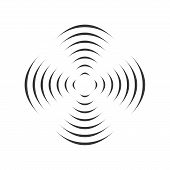 Pattern With Symmetric Geometric Ornament For Spinning Propeller. Black Circle Lines. 3d Optical Ill poster