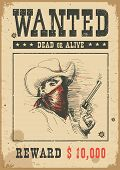 Wanted Poster.vector Western Illustration With Bandit Man In Mask poster