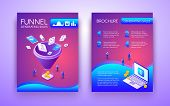 Funnel Generating Sales Business Brochure, Flyer Isometric Template In Vibrant, Fluorescent Colors W poster