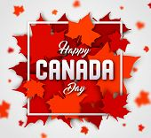 Celebrate The National Day Of Canada. Red Canadian Maple Leaves With Lettering Happy Canada Day. Gre poster