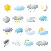 Icons For Weather Forecast At Web Or Widget. Rainy Cloud And Tornado, Rainbow And Snowflakes, Fog Or poster