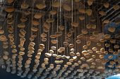 Unusual Ceiling Made Of Stones. Stones Hang From The Ceiling. Time To Collect Stones. poster