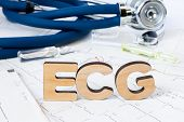 Ecg Acronym Or Abbreviation To Medical Dignostics Of Electrocardiogram - Cardiac Test That Measures  poster