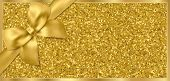 Golden Ticket, Gift Voucher, Gift Certificate With Sparkle Starry Glitter Background And Gold Bow (r poster