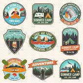 Set Of Summer Camp, Canoe And Kayak Club Badges. Vector. Concept For Patch, Stamp. Retro Design With poster