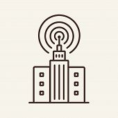 Broadcasting Line Icon. Building, Antenna, Office, Signal. Mass Media Concept. Can Be Used For Topic poster