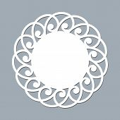 Lace Doily Laser Cut Paper Round Pattern Ornament Template Mockup Of A White Lace Doily Napkin Laser poster