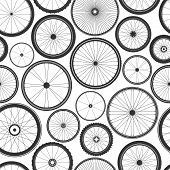 Bicycle Wheel Seamless Pattern. Bike Rubber Mountain Tyre, Valve. Fitness Cycle, Mtb, Mountainbike.  poster