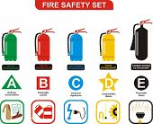 Fire Safety Set Different Types of Extinguishers (Water, Foam, Dry Powder, Halon, Carbon Dioxide - S