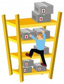 Storekeeper Climbing Warehouse Shelves to move some packed Goods Boxes in Wrong Way -  Cartoon Comic