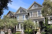 San Francisco - Victorian Row Houses In Western Addition Neighborhood. poster