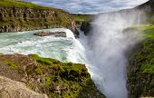 Gullfoss (Golden Falls) waterfall on the Hvíta river, a popular tourist attraction and part of the  poster