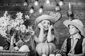 School Festival Holiday. Elementary School Fall Festival Idea. Kids Girl Boy Wear Hat Celebrate Harv poster