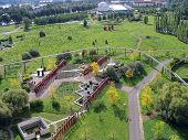 Elevated view on Elbauenpark in Germany