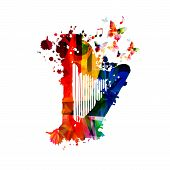 Colorful Harp With Music Notes Isolated Vector Illustration Design. Music Background. Music Instrume poster