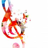 Music Background With Colorful G-clef And Music Notes Vector Illustration Design. Artistic Music Fes poster