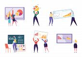 Different Character Business Analyst Set. People Make Chart And Analyzing Business Data. Flat Vector poster