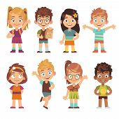 Cute Cartoon Kids Set. Children Girls Boys Standing Kid Portraits Happy Teens Group Funny Preschool  poster