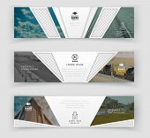 Business Banner Template With Realistic Photos, Logistics Horizontal Template. Abstract Cover Header poster