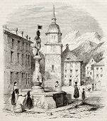 Altdorf main square old view, canton of Uri, Switzerland. Created by Girardet, published on Magasin